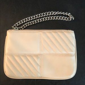 EXPRESS cream mini wristlet with silver chain